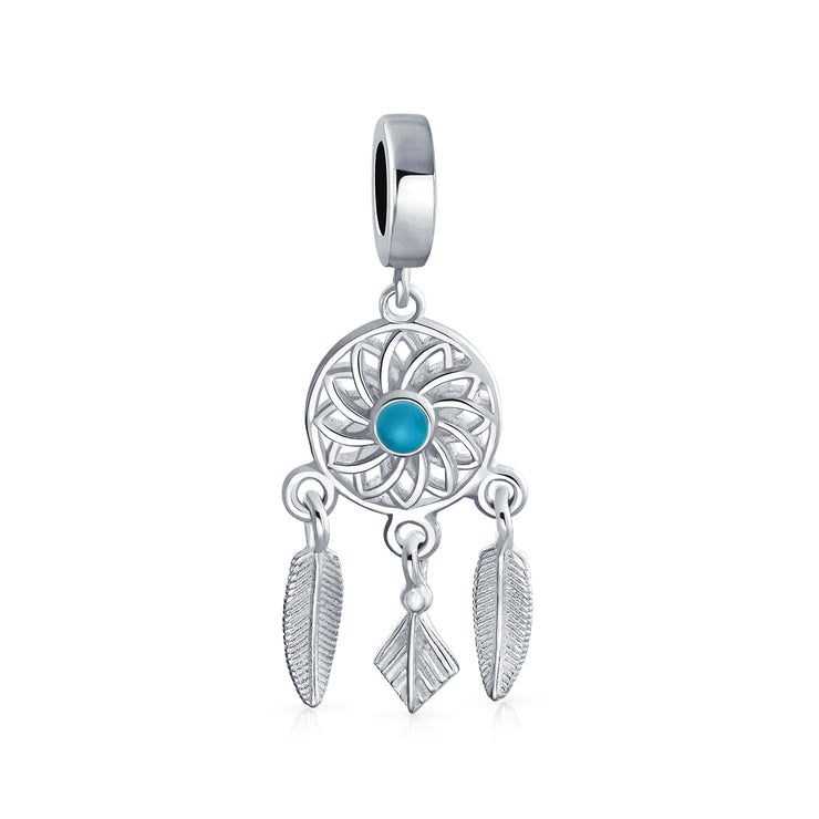 Dream Catcher Of Hopes Blue Center Dangle Charm Bead Sterling Silver