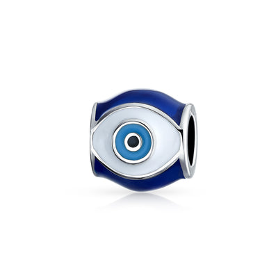 Spiritual Amulet Good Luck Blue Enamel Evil Eye Charm Barrel Bead