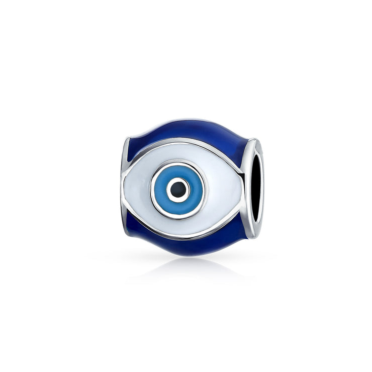 Blue Evil Eye Spiritual Good Luck Charm Bead 925 Sterling Silver