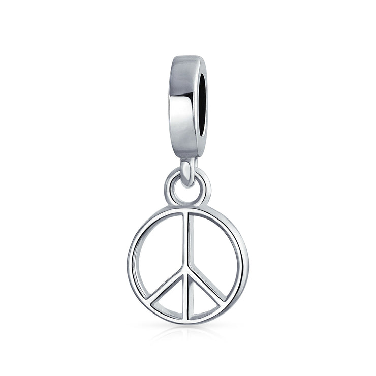World Peace Symbol Dangle Charm Bead 925 Sterling Silver