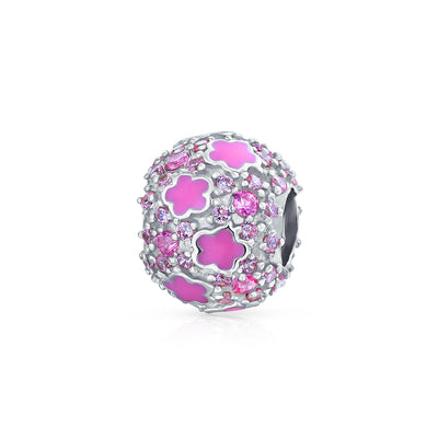 Crystal Pave Hot Pink Flower Spacer Charm Bead 925 Sterling Silver