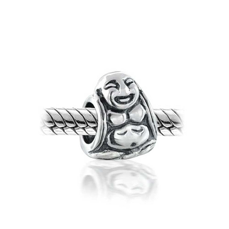 Asian Laughing Buddha Spiritual Mediation Charm Bead Sterling Silver