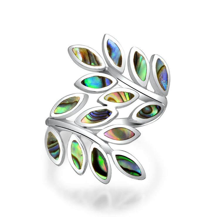 Ivy Rainbow Laurel Vine Leaf Bypass Abalone Ring 925 Sterling Silver