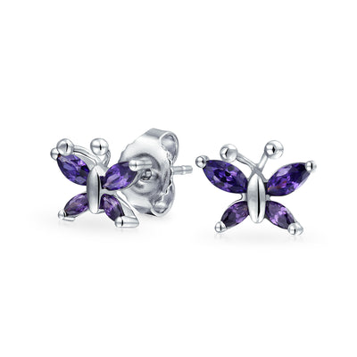 Purple Imitation Amethyst CZ Butterfly Stud Earrings Sterling Silver