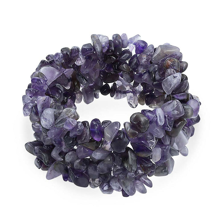 Purple Amethyst Crystal Chip Stone Cluster Strand Stretch Bracelet