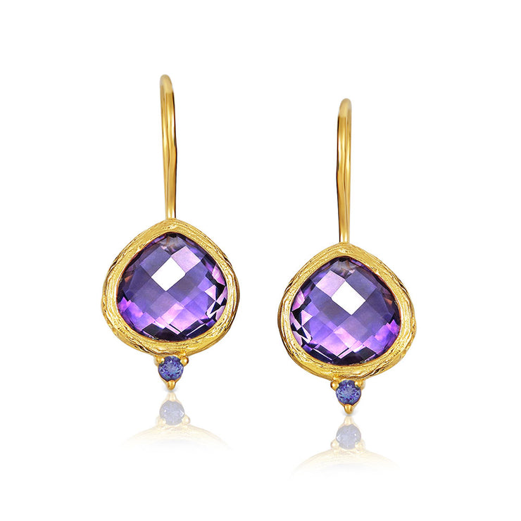 Purple Amethyst Teardrop Threader Earrings Gold Plated Sterling