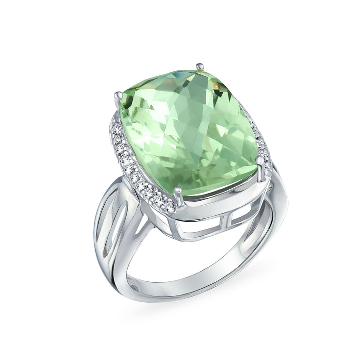 6CT Cushion Prasiolite Natural Zircon Gemstone Ring Sterling Silver