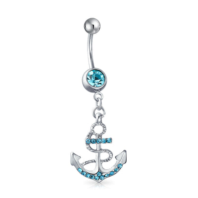 Anchor Bar Belly Ring Aqua Blue Crystal 316L Stainless Steel 14 Gauge
