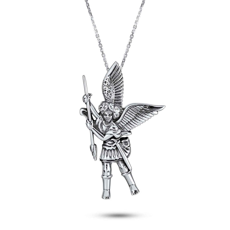 Angel Michael Parton Military Police Medal Pendant Necklace Sterling