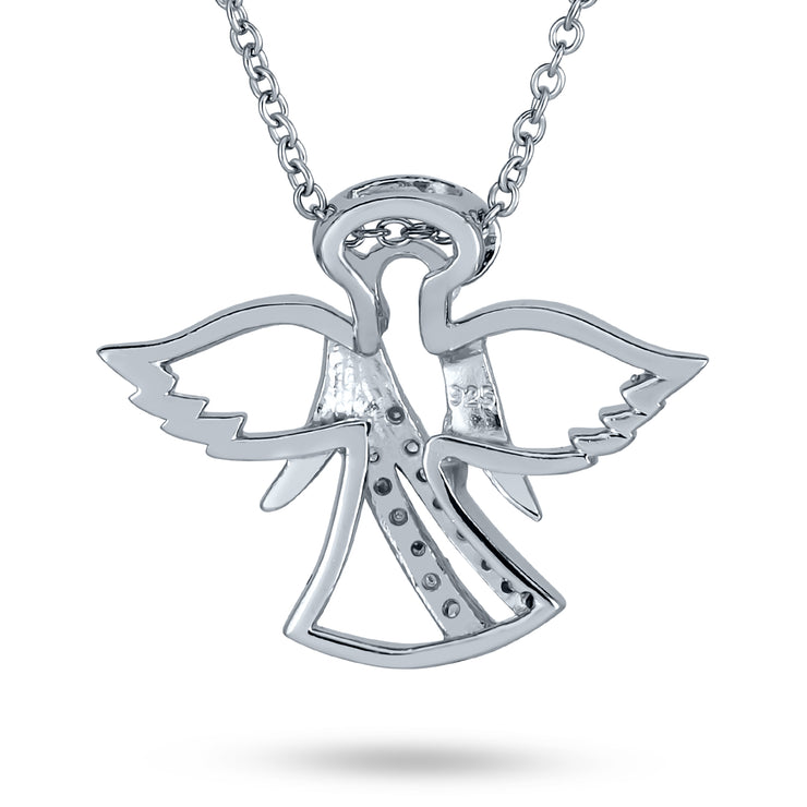 Guardian Angel Protector Pave CZ 925 Sterling Silver Pendant Necklace