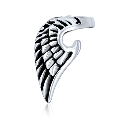 Angel Wing Cartilage Ear Lobe Earring Unisex Black Stainless Steel