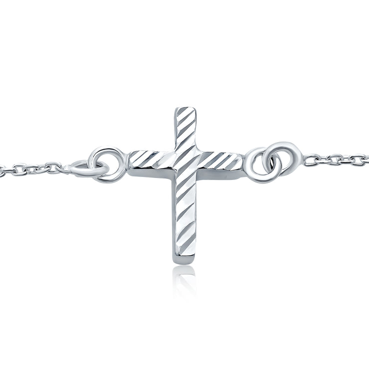 Delicate Side Ways Cross Religious Anklet Bracelet 925 Sterling Silver