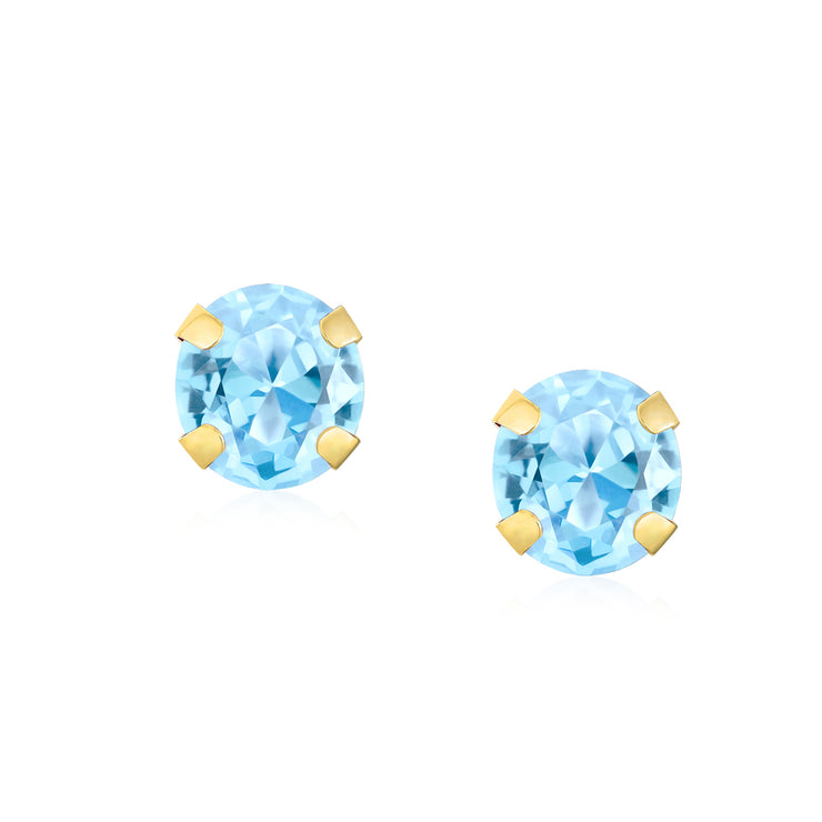 1.4CT Round Gemstone Aquamarine Stud Earrings Real 14K Yellow Gold