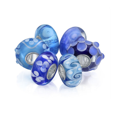 Light Blue Murano Glass Mix Set of 6 925 Sterling Silver Bead Charm