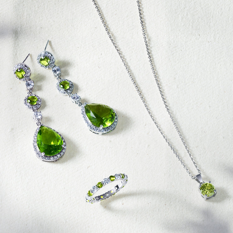 Green Teardrop CZ Statement Earrings Imitation Peridot Silver Plated