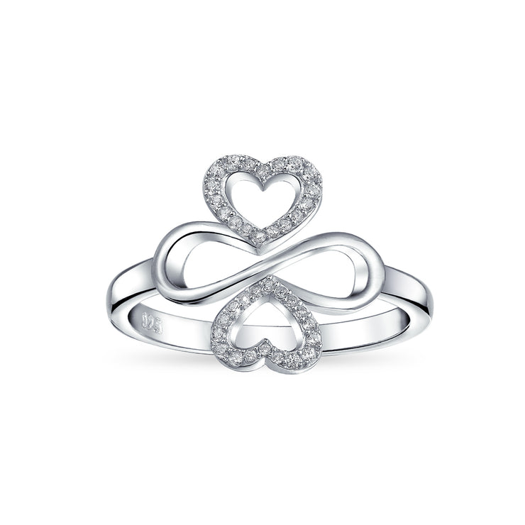 Ayllu Heart Infinity Clover Love Luck Unity CZ Ring Sterling Silver