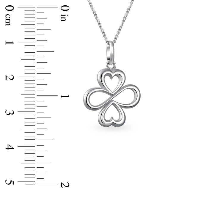 Ayllu Love Luck Unity Heart Infinity Clover Pendant Necklace Sterling