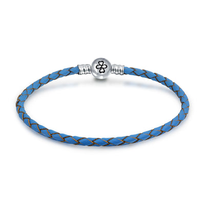 Ayllu Braid Genuine Blue Leather Bracelet For Charms Barrel Clasp
