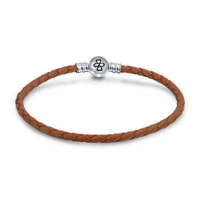 Ayllu Braid Genuine Brown Leather Bracelet For Charms Barrel Clasp
