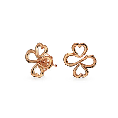 Luck Unity Heart Clover Rose Gold Plated Sterling Silver Stud Earrings