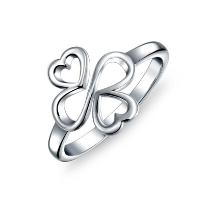 Ayllu Heart Infinity Clover Love Luck Unity Ring Sterling Silver 2MM