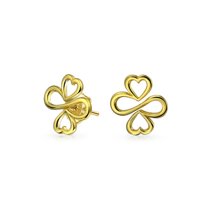 Together Unity Heart 14K Gold Plated 925 Sterling Silver Stud Earring