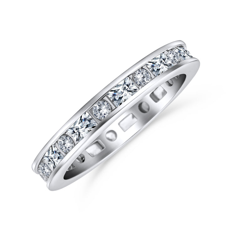 Thin Pave Baguette Eternity Wedding Band Ring 925 Sterling Silver 2MM