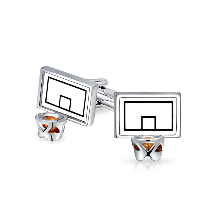 Basketball Backboard Hoop Sports Coach Cufflinks Shirt Stainless Steel