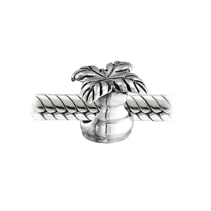 Tropical Honeymoon Vacation Beach Palm Tree Charm Bead Sterling Silver