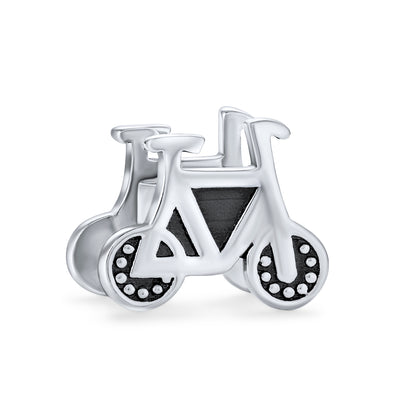 Sports Bicyclist Bike Biker Bicycle Charm Bead .925 Sterling Silver