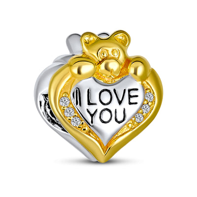 Love Teddy Bear Heart CZ Charm Bead Gold Plated Sterling Silver
