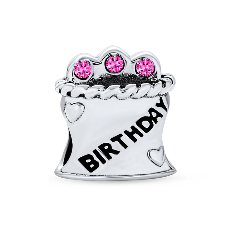 Birthday Cake Cup Cake Pink Cz C les Charm Bead 925 Sterling Silver