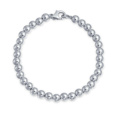 Round Ball Bead Strand Bracelet Shinny High 925 Sterling Silver 6MM