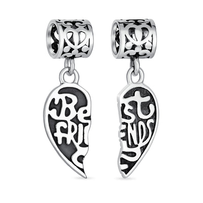 Best Friend Puzzle Two Piece Split Heart Bead Charm Sterling Silver