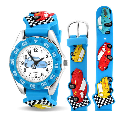 Sports Race Car Driver Waterproof Wrist Watch Quartz 3D Blue Silicone