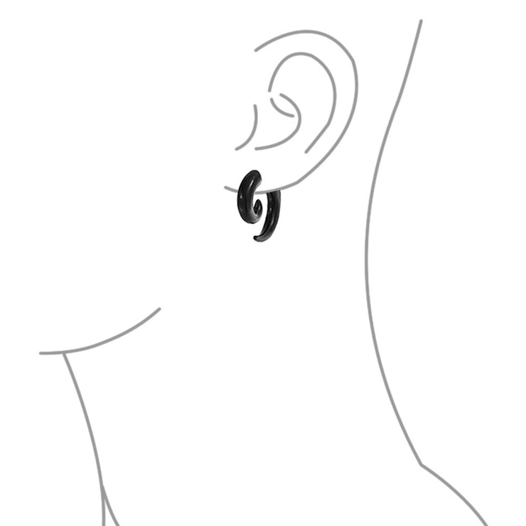 Black Round Spiral Fake Faux Ear Plug Taper Surgical Steel Earrings