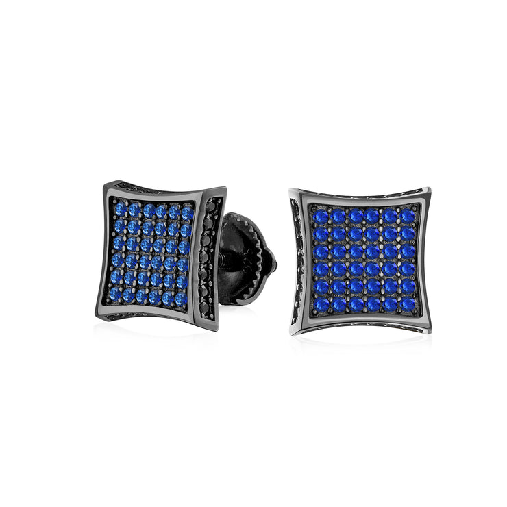 Black Blue CZ Square Stud Earrings  Simulated Sapphire Sterling Silver Screwback