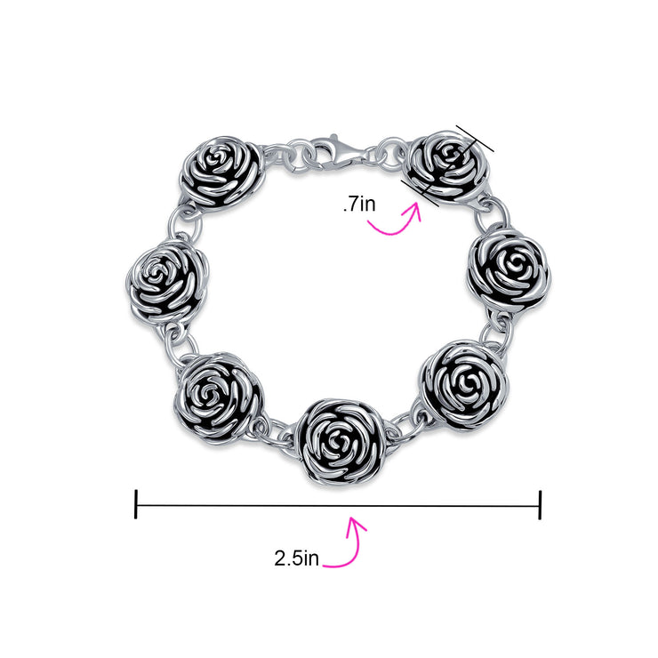 Black Antiqued Roses Flowers Bracelet 925 Sterling Silver 7.5 Inch