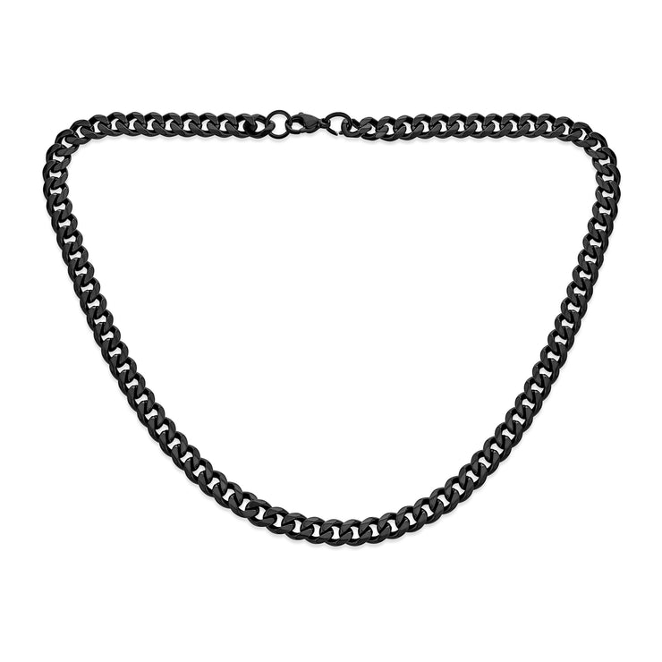 Black Solid Curb Cuban Link Chain 7MM Necklace Plated Stainless Steel