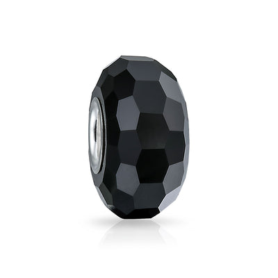 Faceted Solid Black Murano Glass 925 Sterling Silver Bead Charm