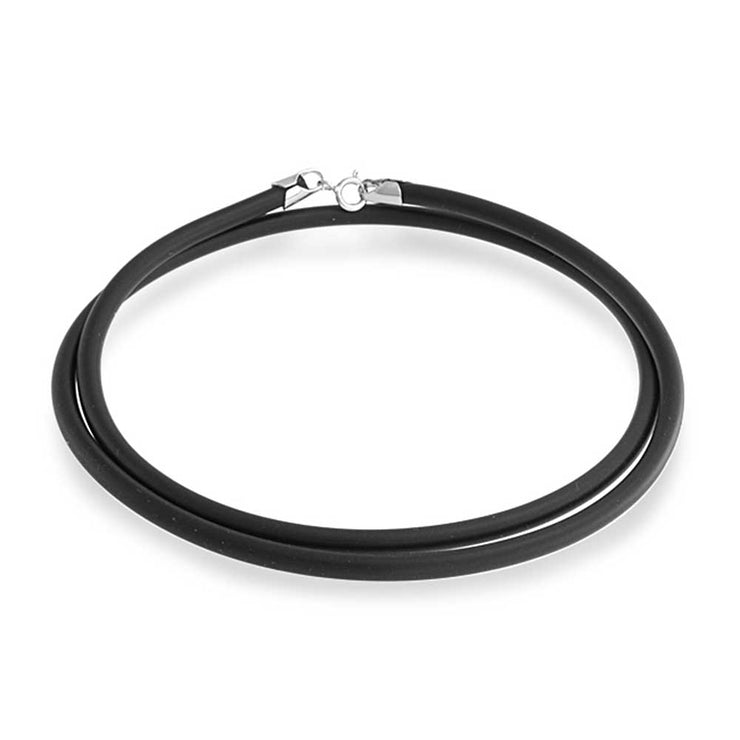 Black Rubber Necklace Pendant Cord Silver Plated Lobster Claw Clasp