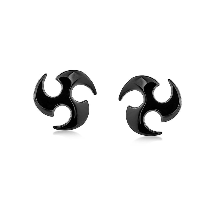 Blade Ninja Star Stud Earrings Black IP Plating Stainless Steel 7 MM