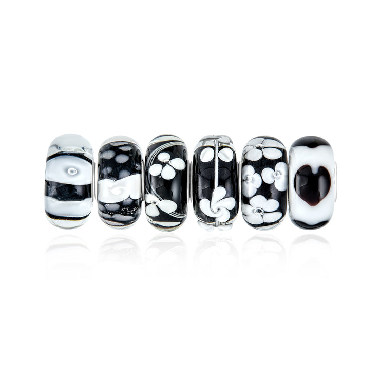 Black White Murano Glass Bead Charm Bundle Set 925 Sterling Silver