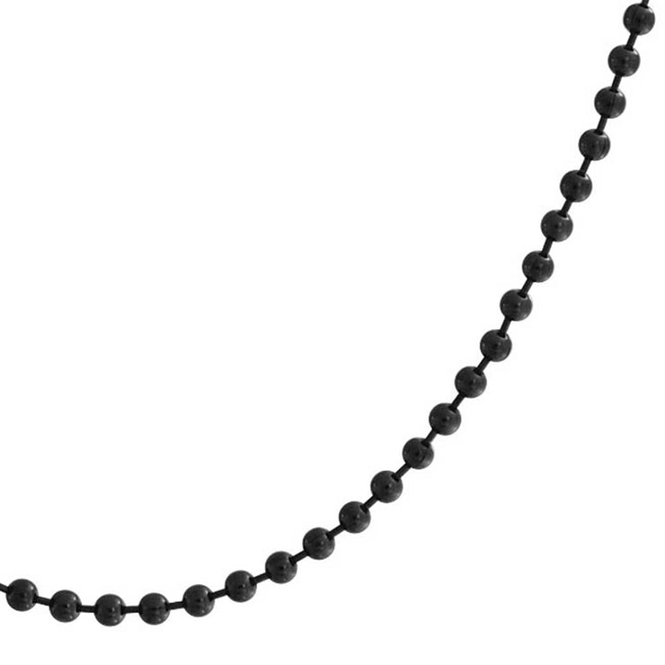 Black Shot Beaded Ball Chain Link 3MM Necklace Plated Stainless Steel