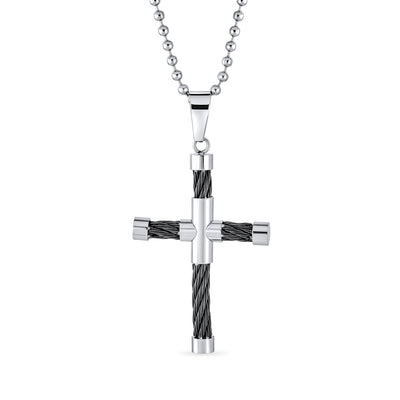 Black Cable Cross Pendant Unisex Black Silver Stainless Steel Bead