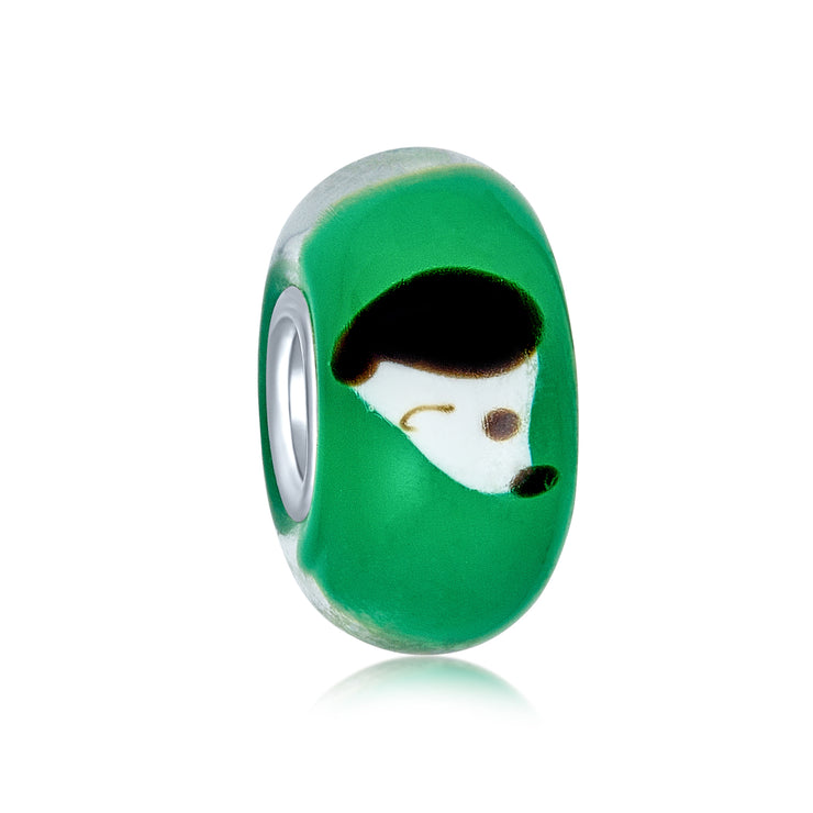 Green Black White Dog Pet Murano Glass Bead Charm 925 Sterling Silver