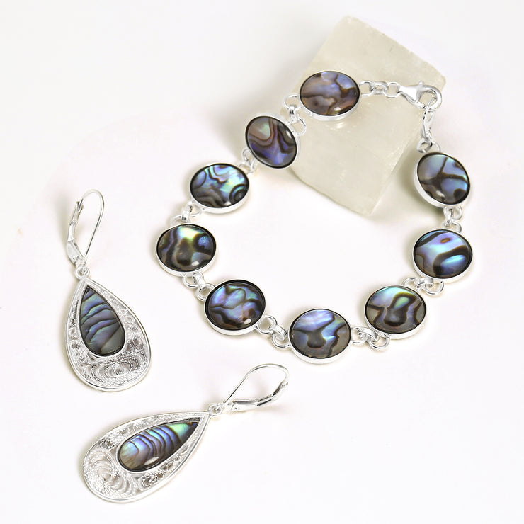 Filigree Teardrop Leverback Abalone Shell Earrings Sterling Silver