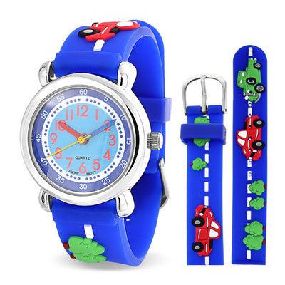 Sports Car Vehicle Truck Wrist Watch 3D Cartoon Blue Wristband