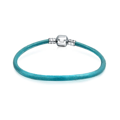 Aqua Blue Genuine Leather Starter Charm Beads Bracelet Sterling Silver