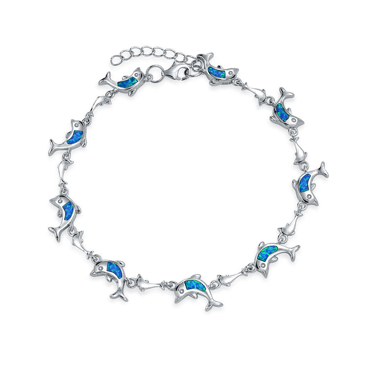 Dolphin Blue Inlay Created Opal Charm Link Bracelet Sterling Silver